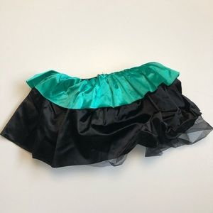 Weissman Bustle Black Tulle Green Satin Elastic